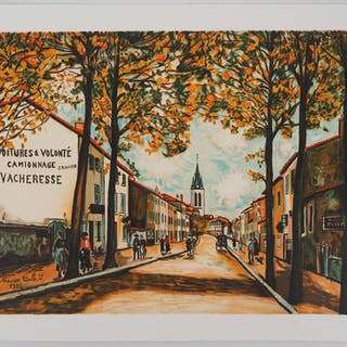 Maurice UTRILLO : La Vacheresse, route National à Anse (Rhône) - Lithographie