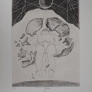 Pierre-Yves TREMOIS - L'homme, le centre de l'univers, Gravure originale signée