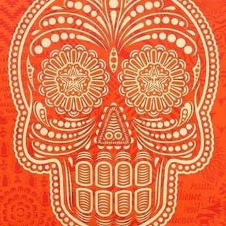 Shepard Fairey (OBEY) & Ernesto Yerena,  Day of the dead skull Orange