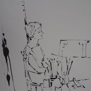 René GENIS : Jeune femme dans l'atelier - Dessin Original Signé