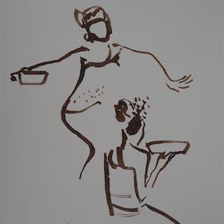 René GENIS : Danseuses balinaises - Dessin Original Signé