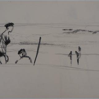 René GENIS : La plage d'Arcachon - Dessin Original Signé