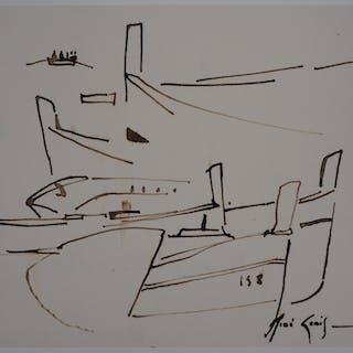 René GENIS : Étraves à Mandello (Sicile) - Dessin Original Signé