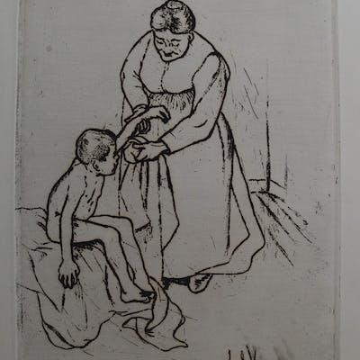 Suzanne VALADON - Grand mère et enfant, Gravure signée
