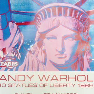 "Affiche pour l'exposition Andy Warhol - ""10 statues of Liberty "" - 1986"