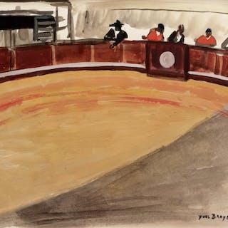"""Yves BRAYER - """"Plaza de toros"""" - 1959 - Gouache originale signée"""