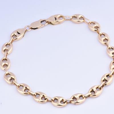Bracelet en or jaune 18 carats (750 millièmes), chaine en maille grain