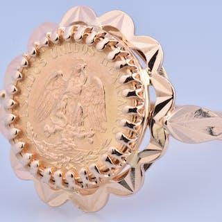 Bague pièce de collection en or jaune 18 carats (750 millièmes) composée