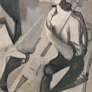 """Camille HILAIRE - """"Le violoncelliste"""" - 1950 - Lavis d'encre signé"""