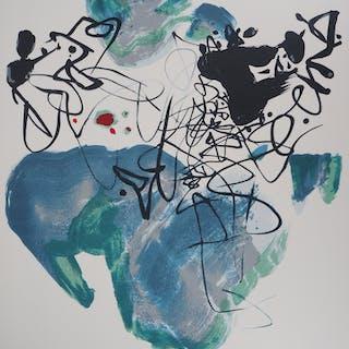 CHU TEH CHUN : Composition en bleu - Lithographie Originale Signée