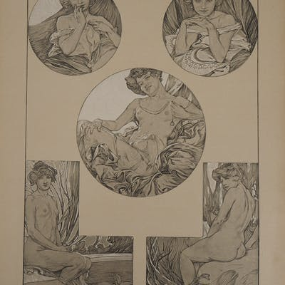 Alphonse MUCHA : Le modèle au chignon, Lithographie
