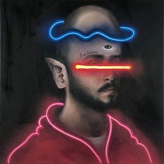 "Alexander AZUKAR ""Ciclope"", 2019, spray sur toile"