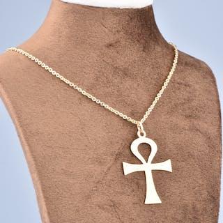 Pendentif Croix de Vie en or jaune 18 carats (750/1000).
