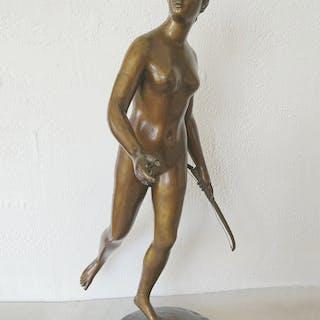 Jean-Antoine HOUDON (d'après) - Diane Chasseresse- Bronze