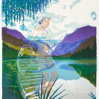 """Olivier MASMONTEIL - """"Baigneuse 4 (Sur la Fontaine River)"""", lithographie, 2017"""