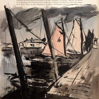 Anders OSTERLIND - « Bateaux à quai » - 1954 - Aquarelle originale