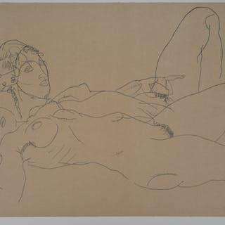 Egon SCHIELE (d'après) : Femmes nues allongées - Lithographie
