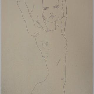 Egon SCHIELE (d'après) : Nu féminin - Lithographie Signée