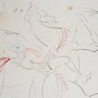 Salvador DALI - Viviane et Lancelot, Gravure Originale Signée
