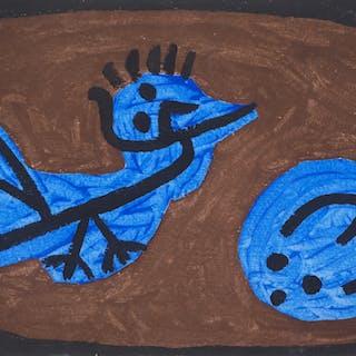Paul KLEE : Bleu, Oiseau, Courge - Lithographie et pochoir signée, 1964