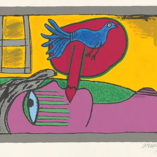 CORNEILLE - Femme allongée et oiseau bleu - Lithographie originale