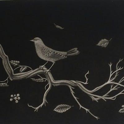 Kiyoshi Hasegawa,  Oiseau sur racine, Lithographie signée , numéroté 1960