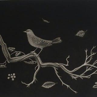 Kiyoshi Hasegawa,  Oiseau sur racine, gravure ORIGINALE  signée , numéroté 1960