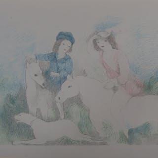 Marie LAURENCIN : Jeunes filles à cheval, Lithographie signée - 1928