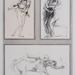 Auguste RODIN : Trois dessins - Gravure signée, 1897