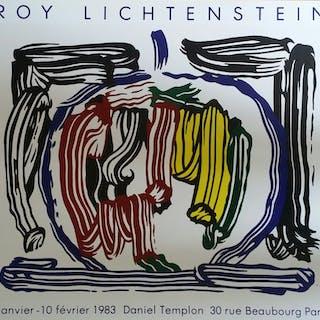 """Roy Lichtenstein –""""Nature morte au pinceau avec pomme"""", 1983 - Lithographie"""
