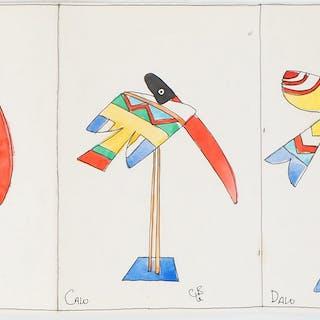 Charles LE BARS : Série de pélicans - Aquarelles originales signées