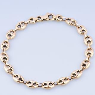 Bracelet homme en or jaune 18k,  chaîne en maille grain de café