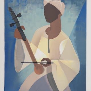 Louis TOFFOLI : Nubien joueur de Cithare - Lithographie originale, Signée