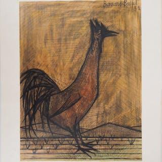 Bernard BUFFET : Le coq - Lithographie, Signée au crayon - Epreuve unique