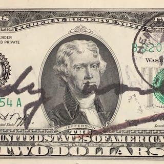 Andy Warhol - Two Dollars Bill, 1976, Billet signé