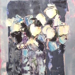 R.YMARZ, Bouquet stylisé, Peinture au couteau signée
