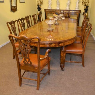 Stunning Bespoke Handmade Burr Walnut Marquetry Dining Table & 12 Chairs
