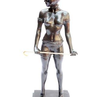 Vintage Bronze Female Dominatrix after Bruno Zach 20th Century