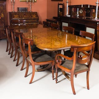 Bespoke10 ft Burr Walnut Regency Style Twin Pillar Dining Table 10 Swag Chairs