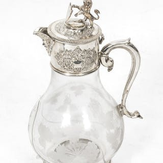 Stunning Silver Plate Claret Jug Glass Decanter