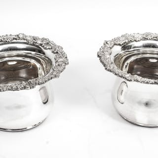 Pair Sheffield Silver Plated English Wine Coasters