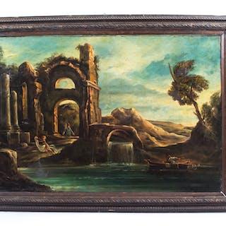 Antique Oil Painting Landscape Ruins c.1910