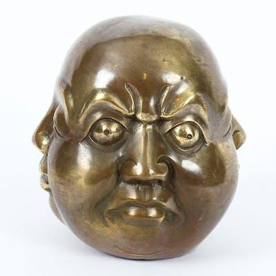 Unusual Bronze Four Face Buddha Brahma Hindu Sculpture Medium