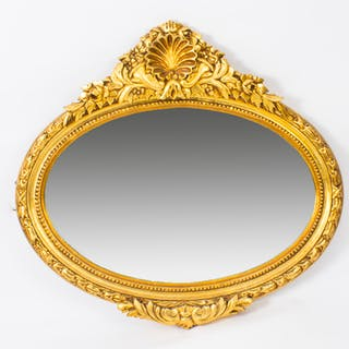 Stunning Giltwood Oval Carved Mirror Bevelled Edge 86 x 96 cm