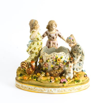 Dresden Style Porcelain Centrepiece 'Children at Play' late 20th Century