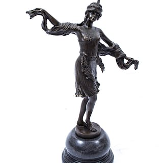 Elegant Bronze Deco Turkish Dancing Girl With Scarf