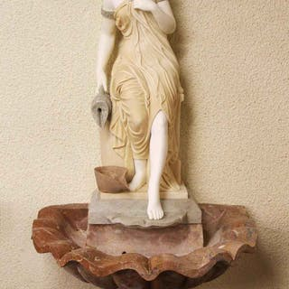 Stunning Solid Marble Classical Maiden Fountain Statue
