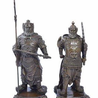 Pair Bronze Chinese Warriors