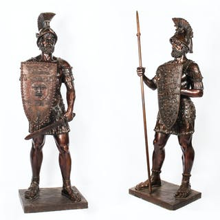 Magnificent Pair Huge 7ft Bronze Roman Soldier Centurion Statues 20th C