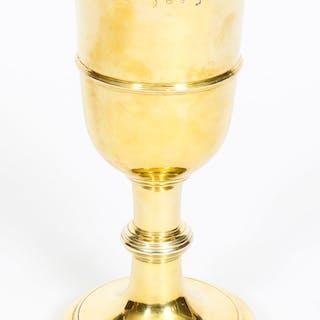 Antique Silver Gilt Chalice Cup by Paul de Lamerie 1745 18th C